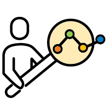 Icon - Person holding magnifying glass with connected lines - color
