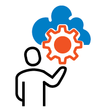 Icon - Person holding gear with cloud - color