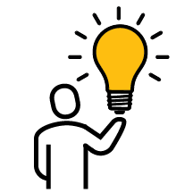 Icon - Person holding up yellow light bulb