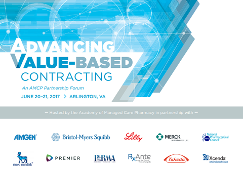 Advancing Value-Based Contracting Partnership Forum Graphic with Sponsors and Date