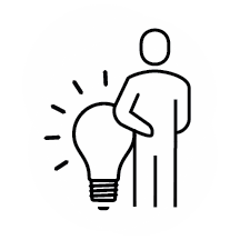 Icon - Person leaning on light bulb - with white behind